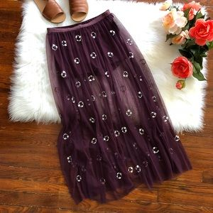 Free People Purple Tulle Maxi Skirt NWOT Beaded